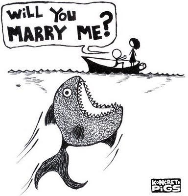 fish,marriage proposal,people,boat,cartoon