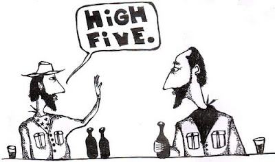 cowboys,high five,cartoon,comic