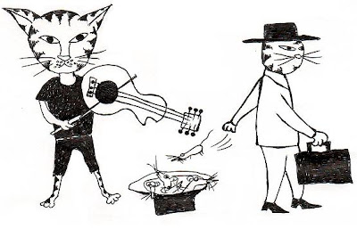 cat beggar cartoon