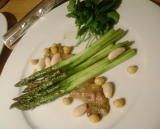 ... food year: Roast asparagus with chickpeas, almonds and tahini dressing