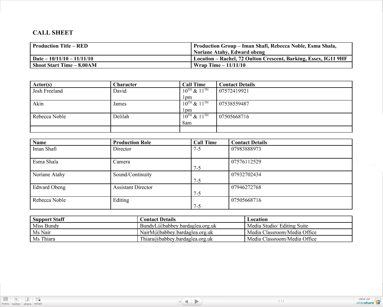 production call sheet template .