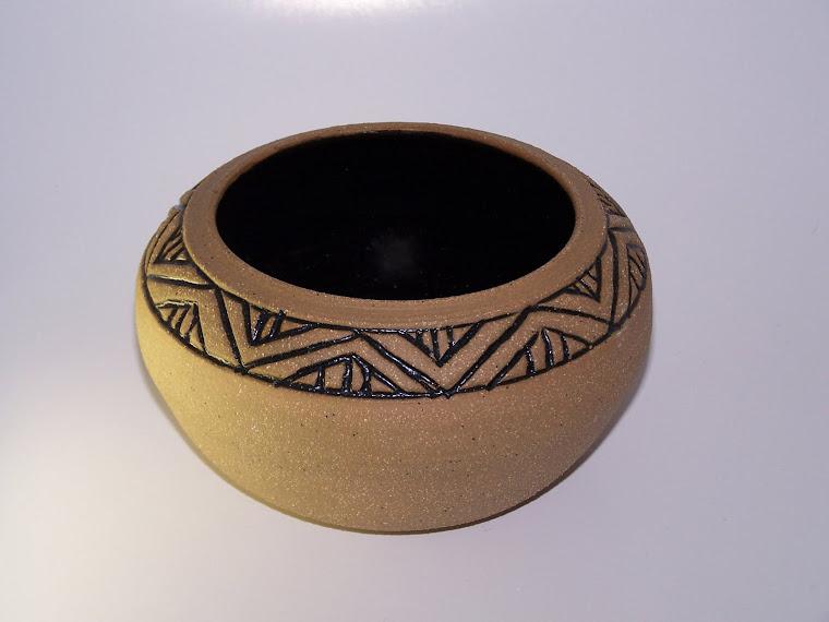 Carved Stoneware Vessel w/Temmoko Glaze