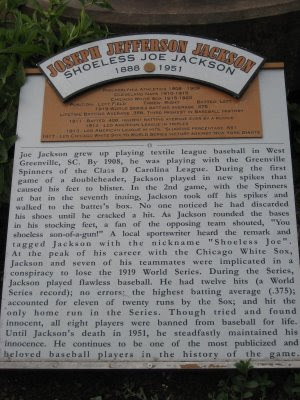 Joe Jackson plaque
