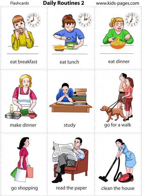 Daily Routine Cards http://curso3c-olga.blogspot.com/2011/04/daily-routines-english.html
