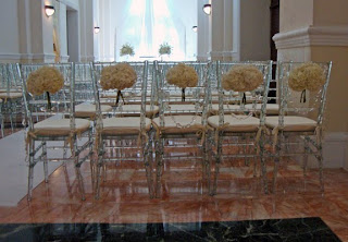 Chair decor with crystal garland and Hydrangeas