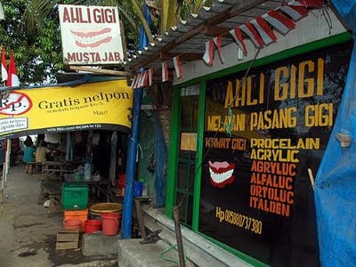 Roadside dentist in Indonesia
