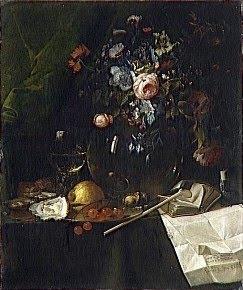 Jan II de Heem, Vanité avec bouquet de fleurs et pipe