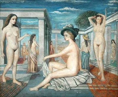 Paul Delvaux (1897 - 1994) - Les courtisanes