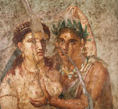 a Roman erotic fresco from Pompeii