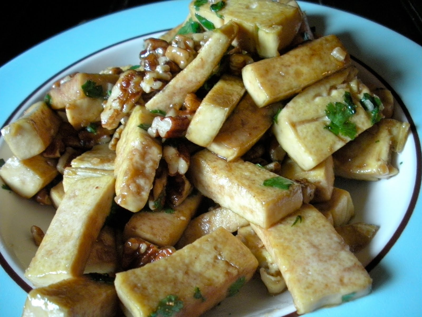 Caramelized Tofu w/ Brussels Sprouts & Mushrooms