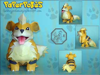 Pokemon Growlithe Papercraft