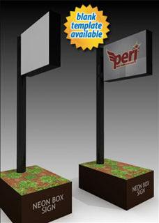 Neon Box Sign Papercraft