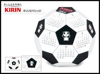 Kirin Beverage 2009 Soccer Ball Calendar Papercraft