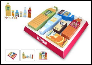Kirin Beverage Bottle Block Papercraft Toy