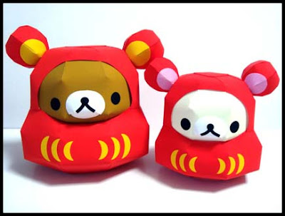 Relax Bear Papercraft Daruma Doll