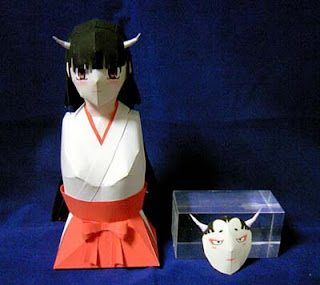 Oni-miko Demon Priestess Papercraft