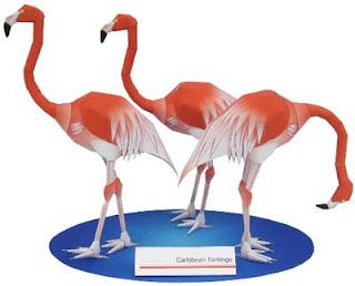Caribbean Flamingo Papercraft