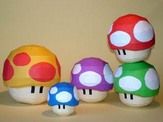 Super Mario Papercraft - Mushrooms ~ Paperkraft.net - Free Papercraft