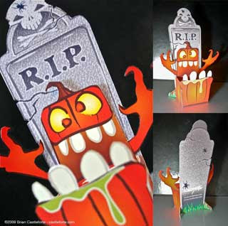 Crazy Pumpkin Candy Dish Papercraft