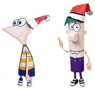Phineas & Ferb Christmas Papercrafts