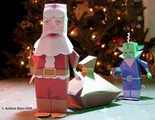 Santa Claus and Martian Papercraft