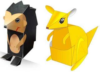 Kangaroo & Hedgehog Paper Toys