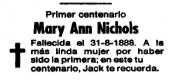 esquela de Mary Ann Nichols publicada en la Vanguardia