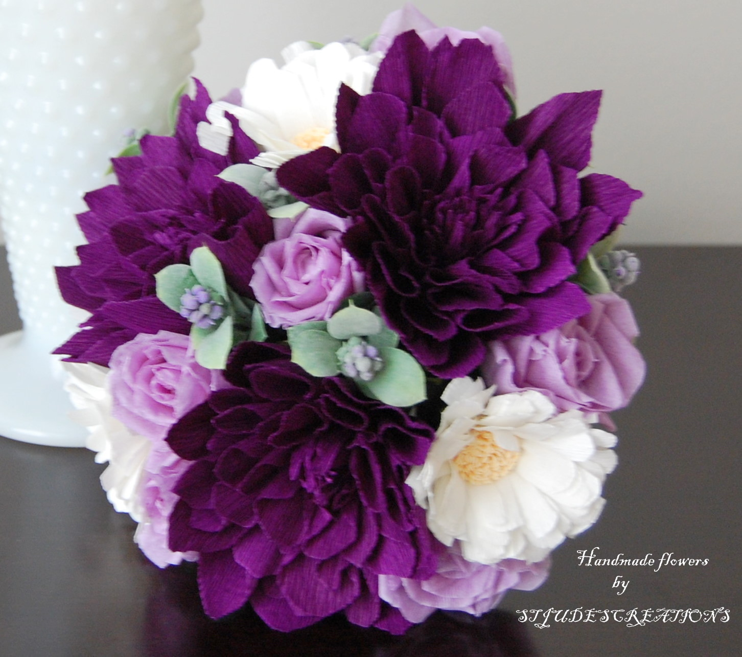 Felt Purple Dahlias Lavender Bud Roses And White Gerber Daisies Went Well Together I Had This Berry Filler It With That Addded