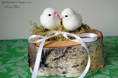 Ring bearer pillow birds nest woodland