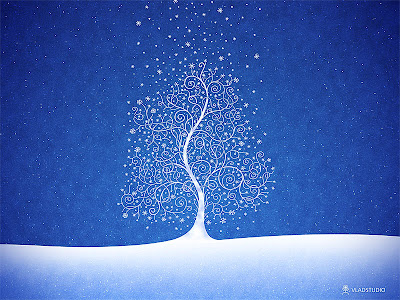 Tree and snowflake desktop wallpaper. Download it in various sizes here.