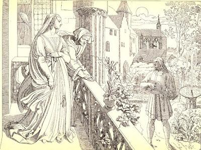Joseph Ritter von Führich. Genoveva, von der alten Gertrud auf den Altan geführt, hört Golos schwermütigen Gesang