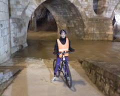 En el puente de piedra inundado
