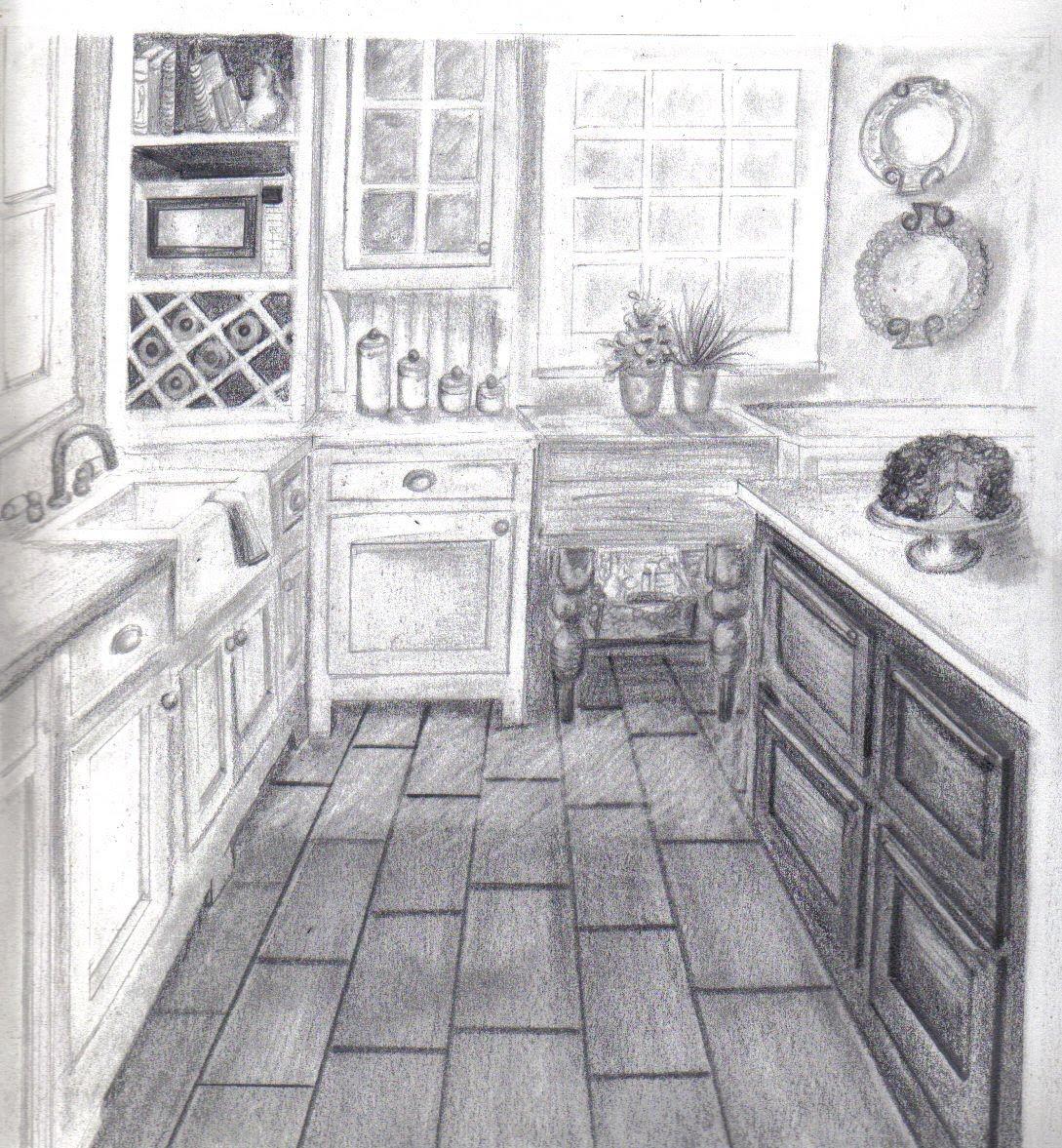 Portefolio cours dessin la perspective for Cuisine en perspective