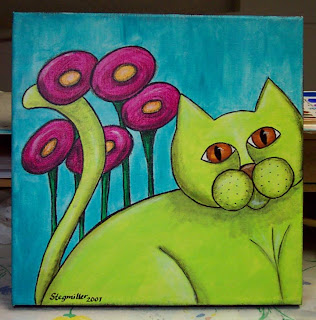 acrylic painted cat flowers