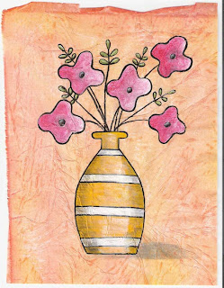 acrylic painted vase of flowers