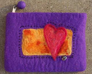 embellished felted bag pouch