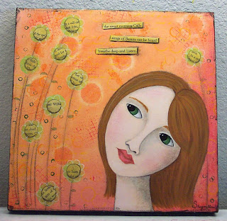 face girl painting acrylic canvas art original