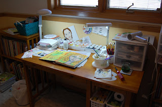 painting journal desk mess