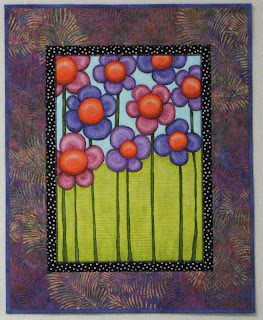 art quilt, painted quilt, flowers, wall hanging