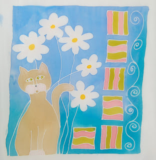 silk resist design art cat fabric paint