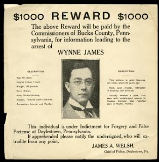 Wynne James wanted poster, c.1940. 2008.40.20.