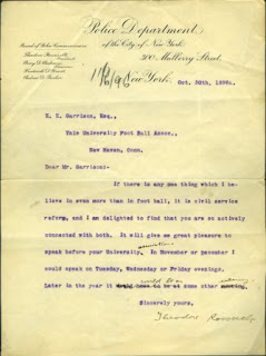 Letter from Theodore Roosevelt to Yale Univ. Foot Ball Association