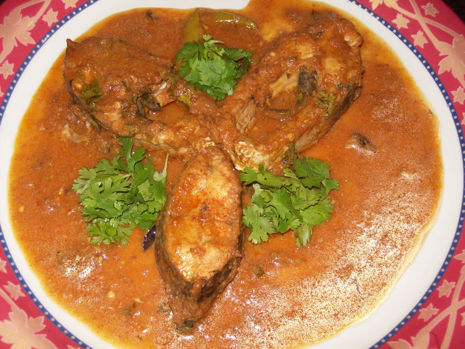 Here is my Chepala Pulusu / Fish Stew serve hot with white rice ...