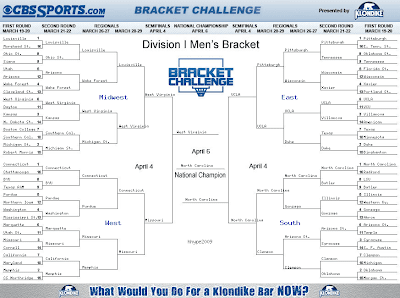 The Honest Hypocrite: NCAA MARCH MADNESS BRACKET submission