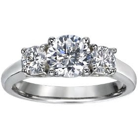 Anniversary Rings: Gold Three Stone Round Brilliant Diamond