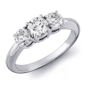 Anniversary Rings: White Gold 3 Stone Round Brilliant Diamond