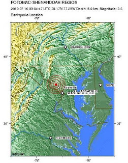 Earthquake Location: Magnitude 3.6 POTOMAC-SHENANDOAH REGION