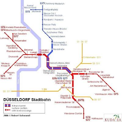 Карта метро г.Дюссельдорф: