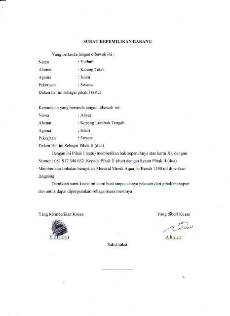 Contoh Surat Kuasa