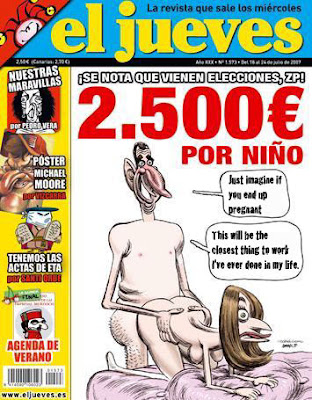 Banned Cartoon of Spanish Prince Felipe giving it doggy-style to his missus, Letizia Ortiz, 34, a former television news presenter